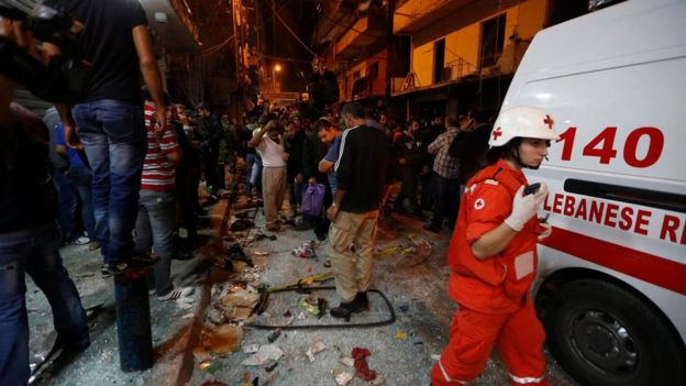 Aftermath of twin suicide bomb attack in Beirut, Lebanon (12 November 2015)