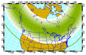 Forecasted aurora borealis issued by the University of Alaska-Fairbanks for Monday, November 2.