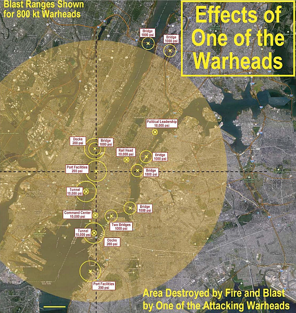 Effects of One of the Warheads - Blast Ranges Shown for 800 kt Warheads - Area Destroyed by Fire and Blast by One of the Attacking Warheads