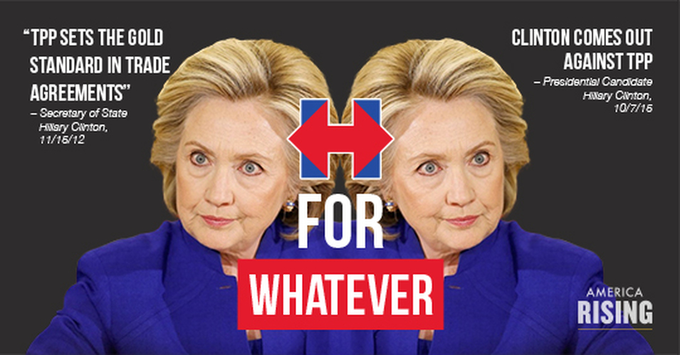 Here's 45 Times Olympic Flip Flopper Clinton Endorsed The TPP And What She Will Really Do If Elected