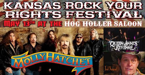 Kansas Rock Your Rights Festival –Molly Hatchet and Special Guests: Ted Nugent, Kris Kobach, Larry Pratt, Sheriff Richard Mack, KrisAnne Hall – May 13th